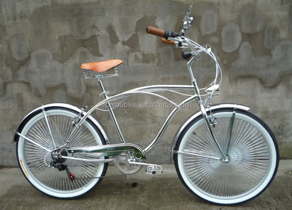 26 7 Sd Chrome Painting Beach Cruiser Bike With Spring Suspension Fork