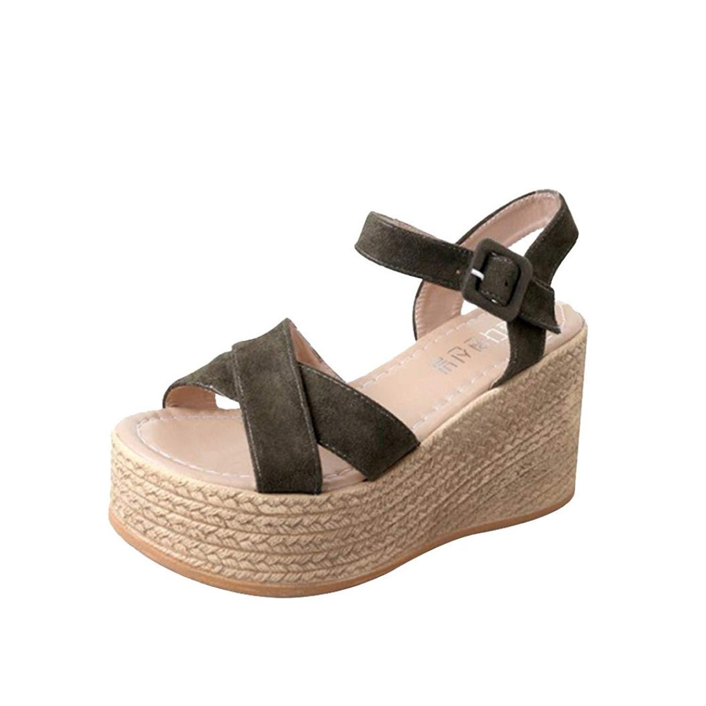a0ed89ba334 Get Quotations · UPLOTER Women Sandals Wedges Peep Toe Flock Belt Buckle  Thick Bottom Hook-Loop Fashion Wedges