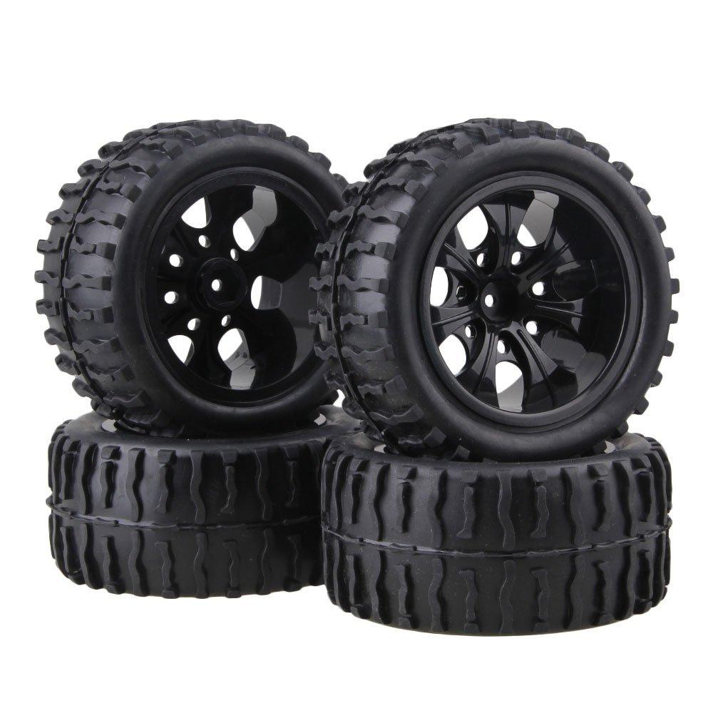 BQLZR Black RC 1:10 Truck Water Wave Tires + Wheel Hub 12mm (Pack of 4)