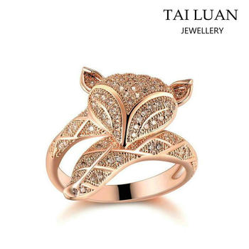 rose rings ring fox silver romantic lover diamond animal open gold wedding
