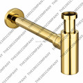 2016 Luxury high quality Bottle Trap Brass Round Golden Siphon P Trap Bathroom Vanity Basin Pipe