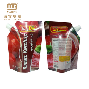 Food Grade Custom Design Stand Up Sauce Packaging Spout Top Tomato Ketchup Pouches With Nozzle