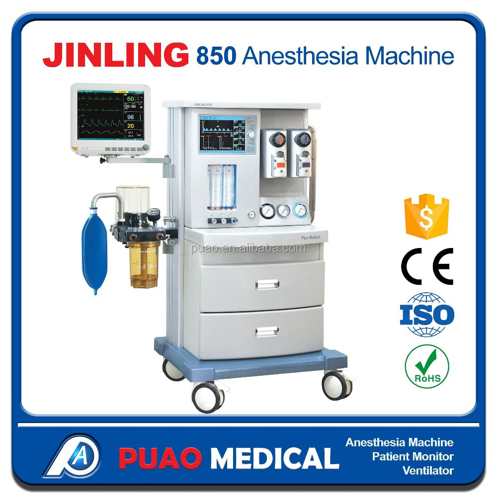 JINLING-850 Best Price Anesthesia Machine with 10.5 inch Monitor for Operation, Anaesthetic Machine