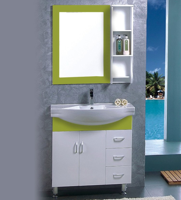 green color pvc bathroom vanity cabinet for wholesale