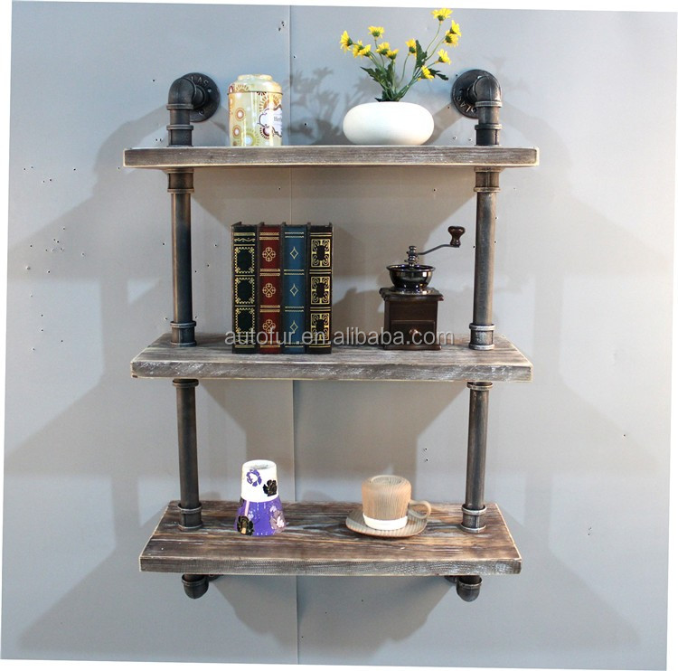 Hot Selling DIY Waterpipe Decorative Wood Wall Covering Shelf
