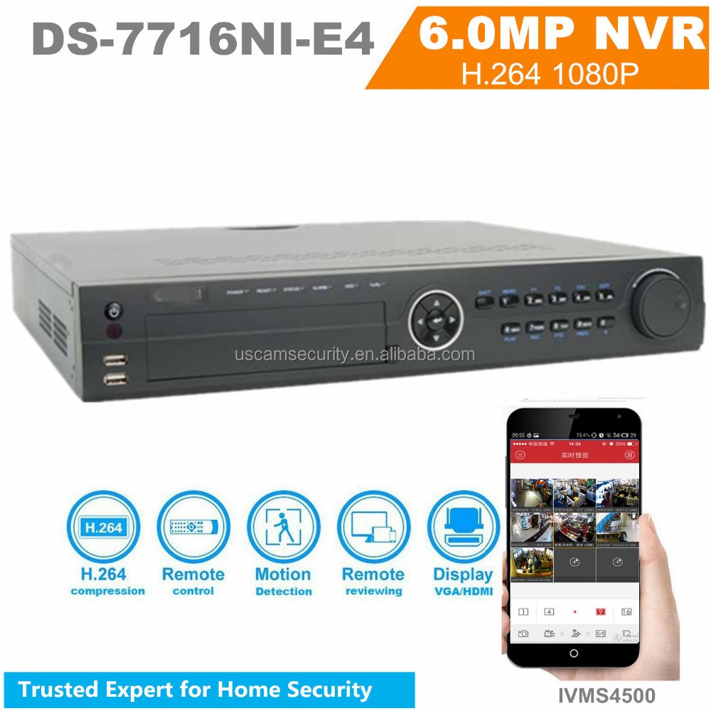 Hikvision 16CH Full HD NVR DS-7716NI-E4 POE CCTV Mini Camera