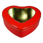 Metal Empty love heart shaped Wedding candy cookie packaging chocolate gift tin box with window