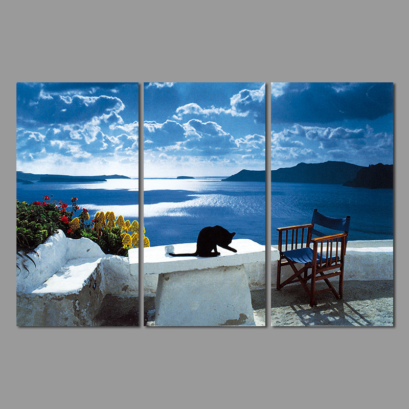 Blue Seaside Decorating Small Apartment Living Room: Art Still Life Landscape Greek Sea Living Room Decoration