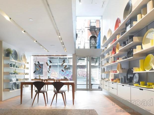 retail shop design metal paint shelf for porcelain retail shop