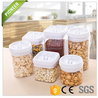 Air sealed food can grain food storage jar plastic clear kitchen storage container with Lid