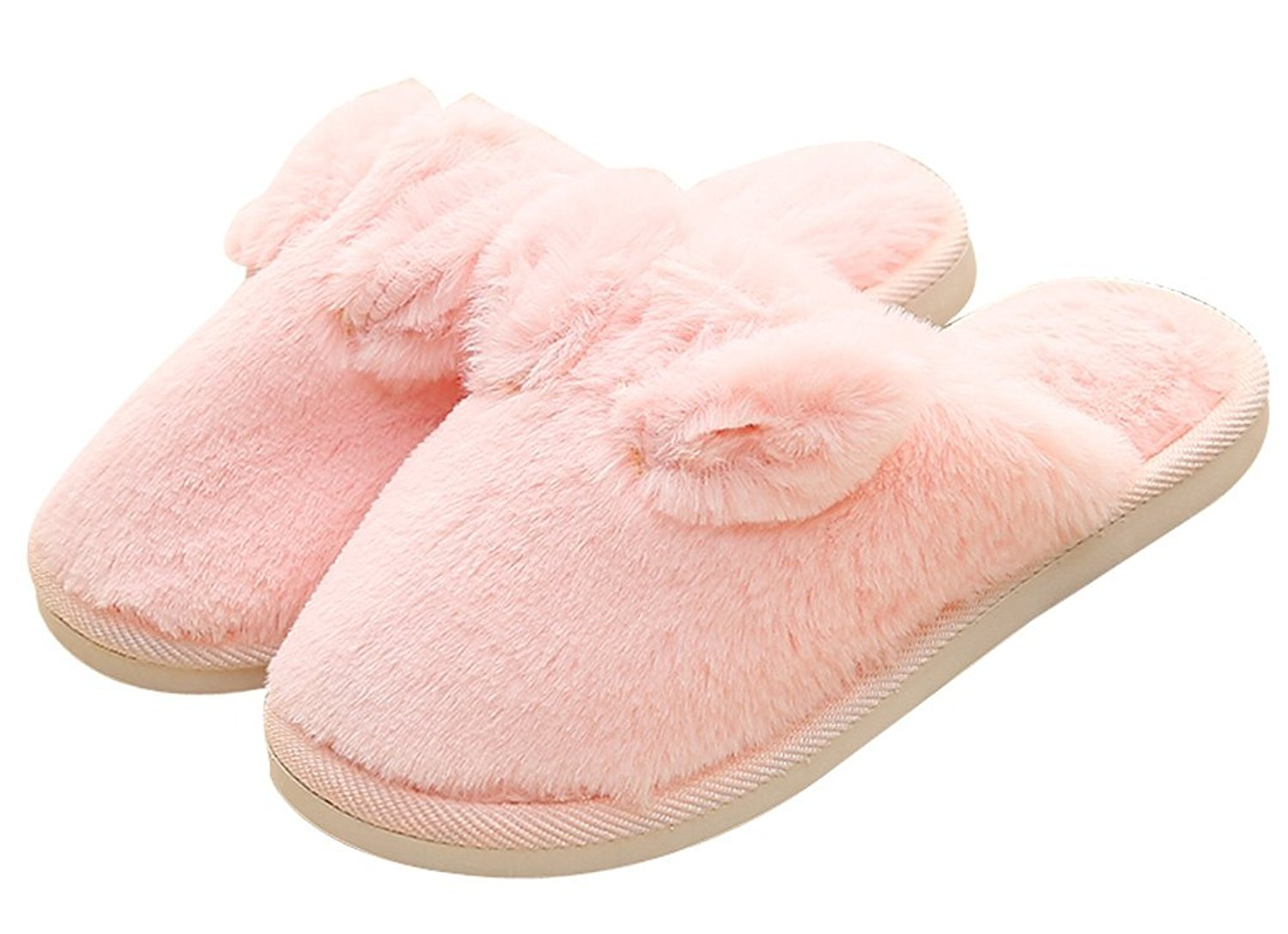02ef4e1ac71 Get Quotations · C wait Womens Warm Bunny Slippers Fuzzy Slippers House  Pink Slippers