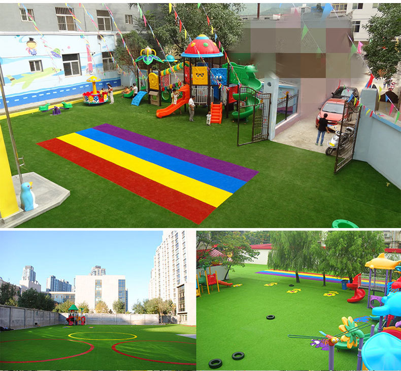 Red,yellow,blue,purple kindergarten rainbow track artificial turf