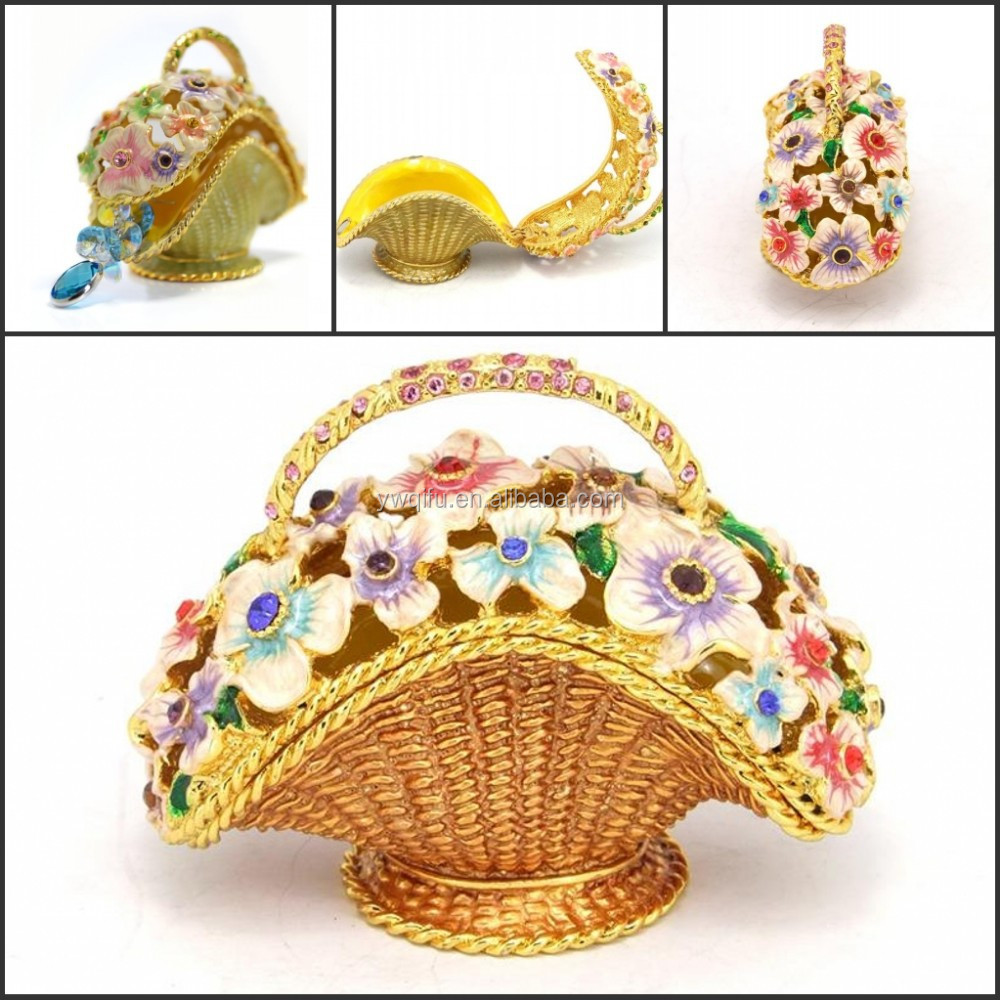 Home Decor Small Basket of Flower Statue Jeweled Enamel Trinket Boxes for Girls