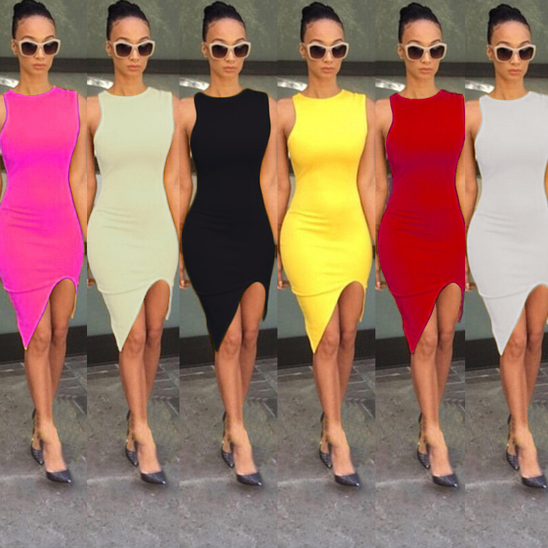 Sexy Express fashion explosive body slim bag buttocks solid color sleeveless night dress hot women's wear dress