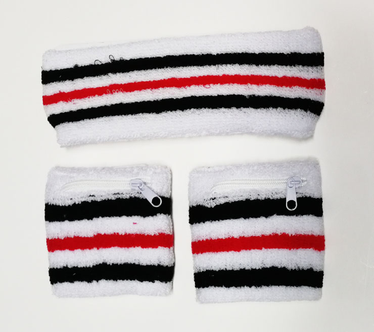 Custom cotton sports headband and wrist sweatband set for promotion