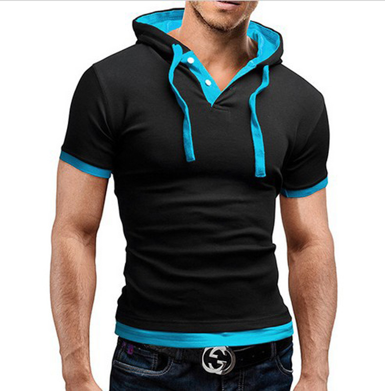 2015 fashion solid color stand collar men's t-shirt