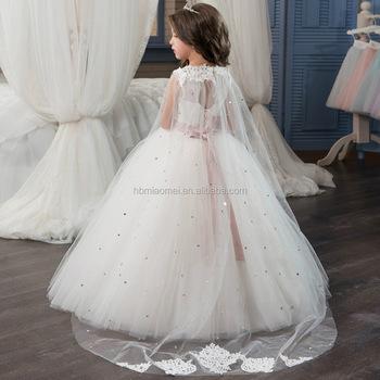 86e16b6cba High Quality Korean Frock Designs Children White A line Long Girls Lace  Dress