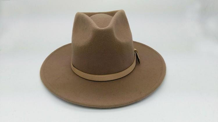 22eaaa31004 Mode chameau hommes feutre de laine chapeau fedora avec ceinture en cuir