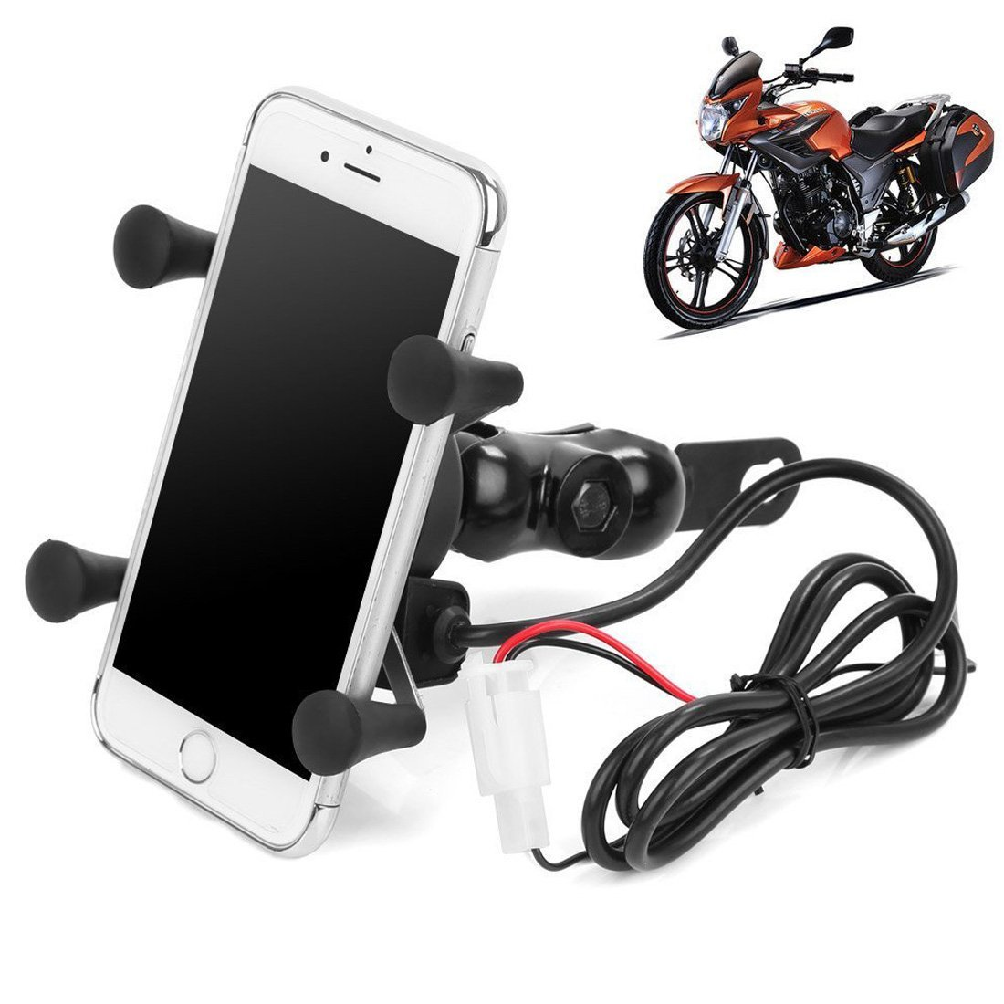 Motorcycle Phone X Grip, Motorcycle Phone Holder with USB Charger, Rerii Motorcycle Phone Mount, Mobile Phone Holder, Mount, USB Charging for iPhone, Samsung Galaxy, HTC, Huawei and More