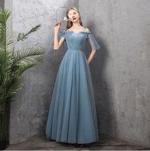 Женское платье для подружки невесты, Длинное Элегантное платье пыльного синего цвета для выпускного вечера, Простые Вечерние платья на сва...(Китай)