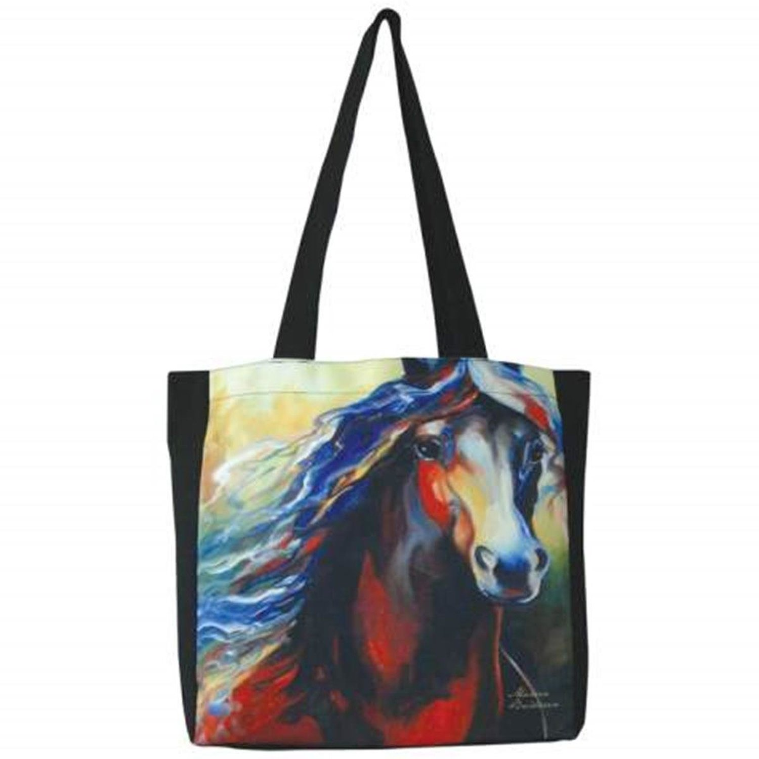 13 x 13 Inch Equus Equine Theme Black Tote Bag with Brown Stallion