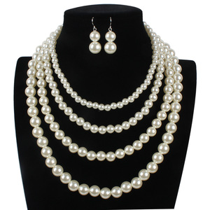 Women Latest Designs Beads Accessories Wedding Pearl Bib Necklace