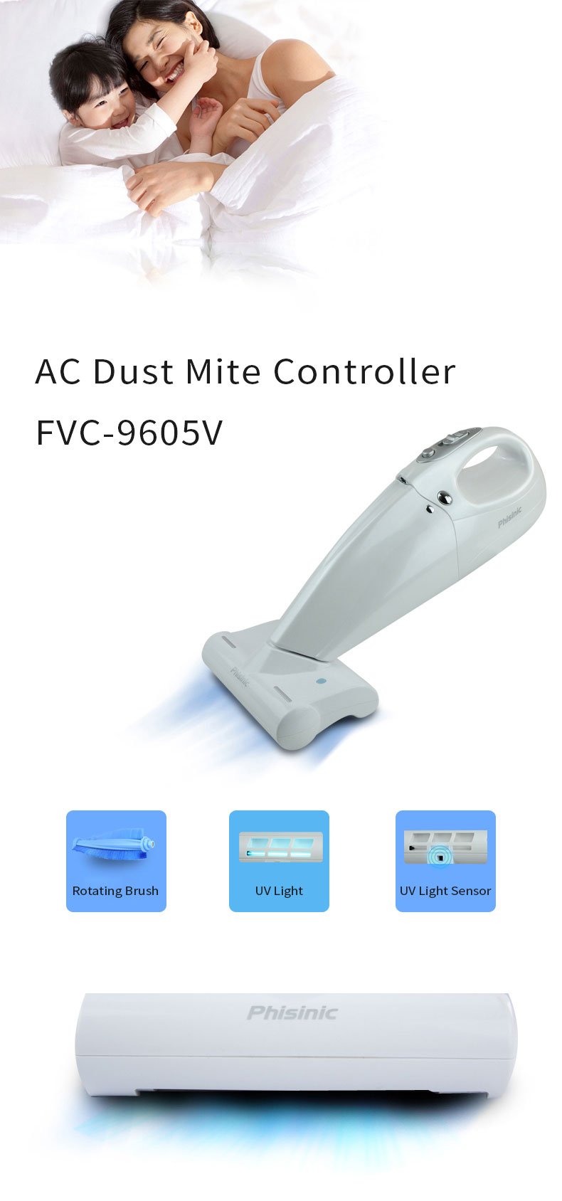 AC ANTI-MITE VACUUM CLEANER ELECTRIC TURBO BRUSH WHITE HOME USE