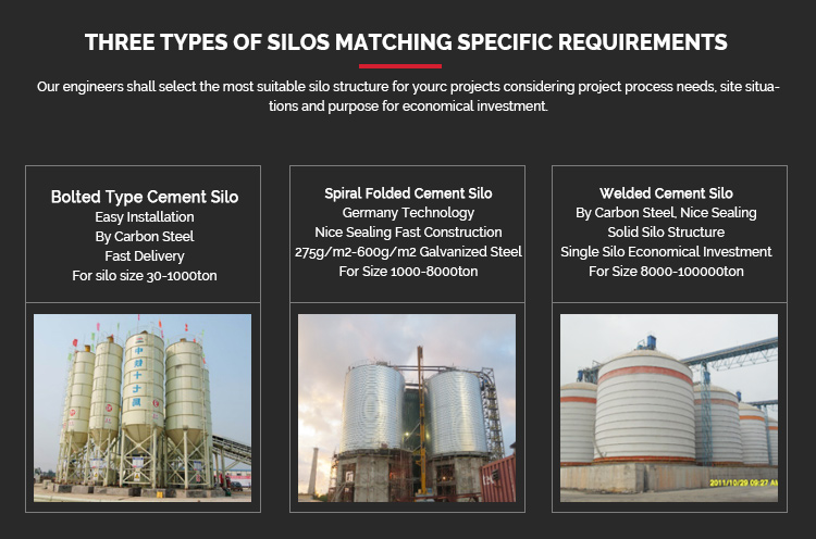 Safety Guaranteed Flat Bottom Steel Silo with Silo Blowers