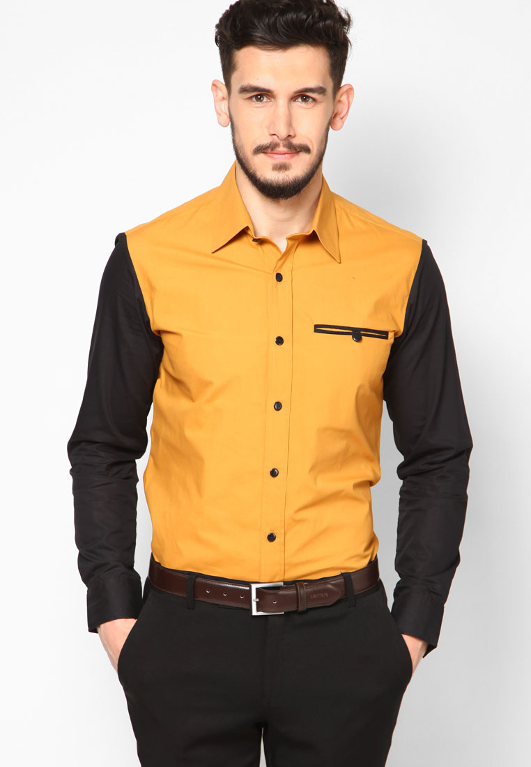 Mustard Popular Dress Shirts For Men Designer - Buy Dress Shirts ...