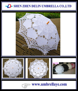 Accesories Handmade Battenburg Lace small white parasol