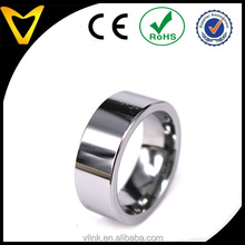 Vlink jewelry men's silver color flat plain pipe cut tungsten ring