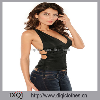 Buy Designer Clothes   Breasts Sexy Backless Lace Butterflies Sleeveless V Fashion T Shirt
