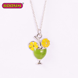 Enamel Summer Cocktail Drink Glass Charm Pendant Necklace for Girls