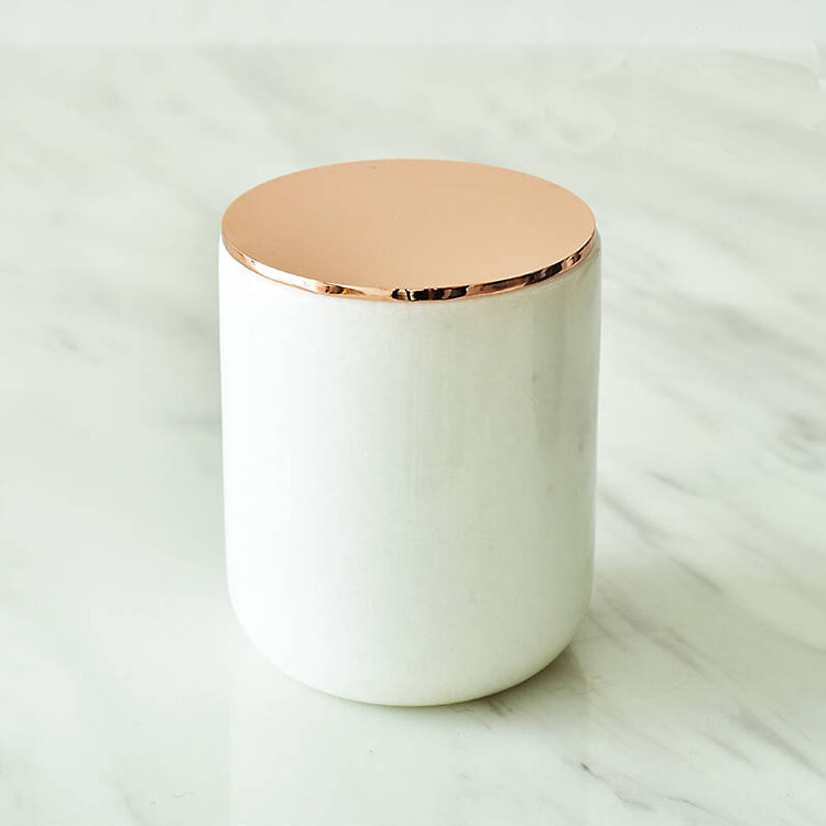 Best Selling Carrara Wit Zwart Grijs Marmeren Steen Kaarshouder Marmer Kaars Potten Met Deksel Groothandel Voor Thuis Decor