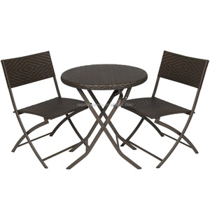 Leisure Flat Wicker Steel Rattan Folding Round Table Set 3pcs/5 pcs Garden Outdoor Dining Furniture