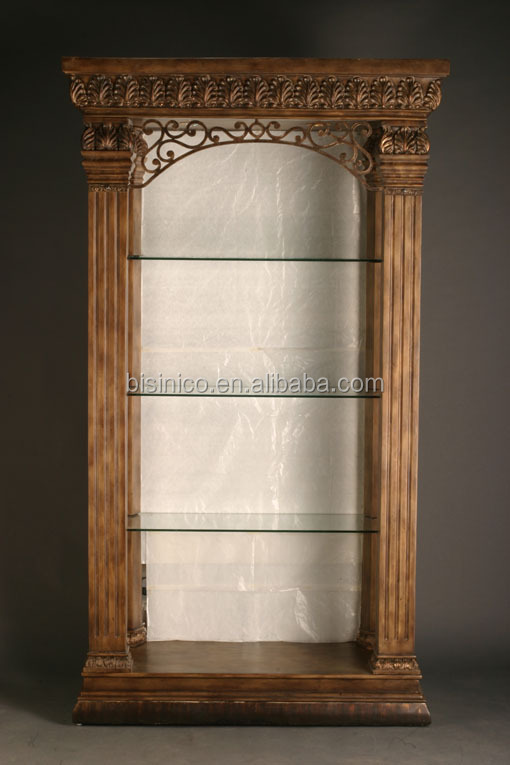 Exquisite Wood Carved Display Cabinet Silver Leaf Living Room Side Cupboard Noble Silver Wooden
