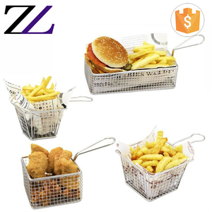 Kitchen tool stainless steel wire mesh air fryer fast food serving strainer basket potato chip paper cone mini french fry basket