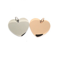 Simple design customize stainless steel silver/rose gold blank heart pendant
