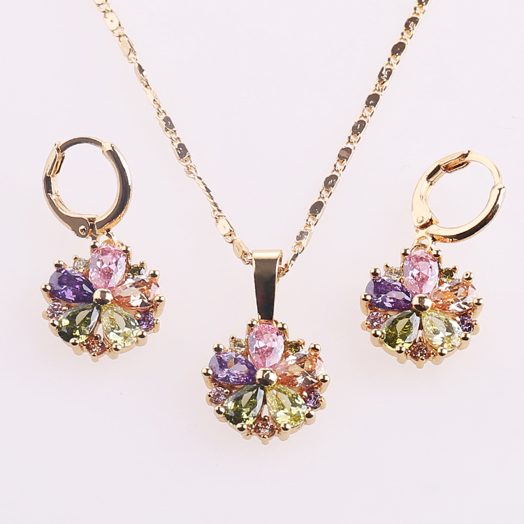 Heng Dian Alibaba Website Wholesale Elegant Women Gold Plated Earring Pendant Jewelry <strong>Sets</strong>