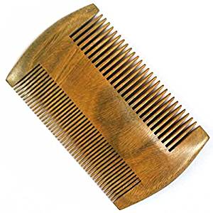 2 Sides Dual-Use Green Sandalwood Wooden Pocket Hair Comb Men Beard Comb Anti-Static Wide and Fine Tooth