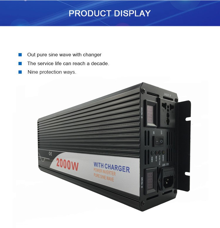 2000W DC 12V 24V 60V To AC No Battery Inverter 220v With Charger