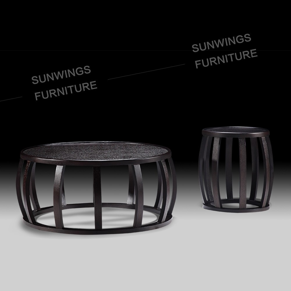 modern round nesting coffee tables designs in wood