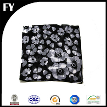 Digital custom print 100% silk chiffon scarf with white floral