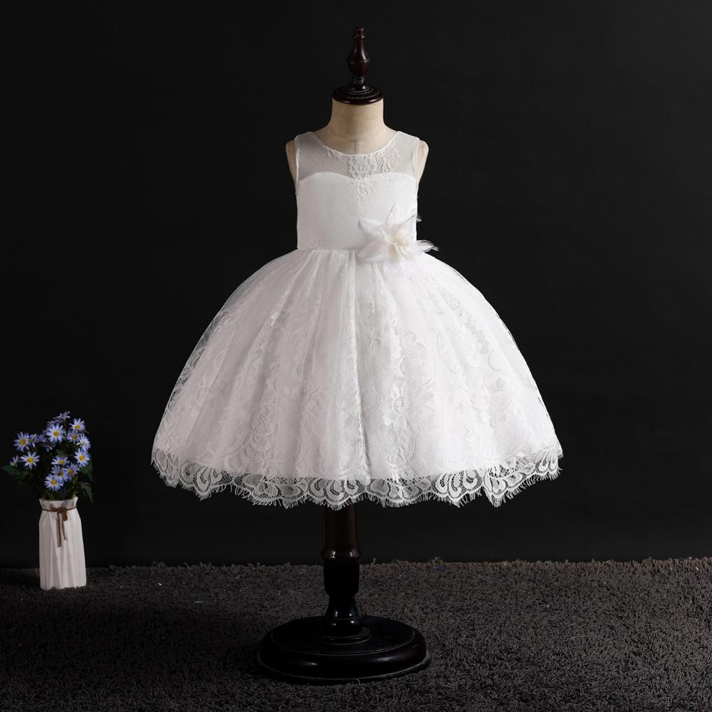 Boutique fancy lace bloem kids wedding pageant party meisjes witte jurk