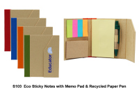 Eco Sticky Note Pad & Recycled Paper Pen