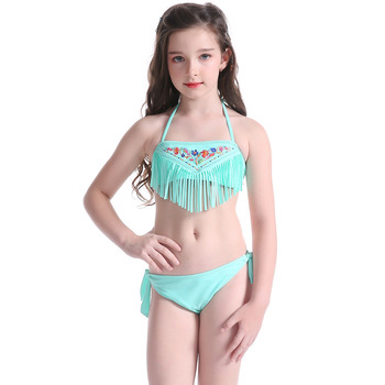 b0c2dd8df5 2019 little girls bathing suit Embroidering Floral teen girl bathing suit  cute bikini