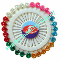 Wholesale 55mm flower shape pearl colors stick pin for craft