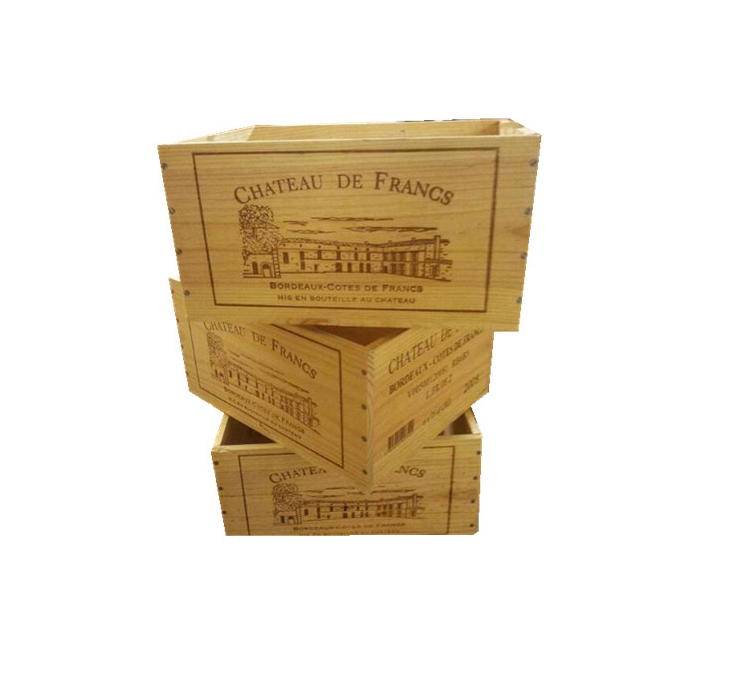 5 Paquete de cajón de madera Caja de vino para el almacenamiento de Hogar Vintage Shabby Chic