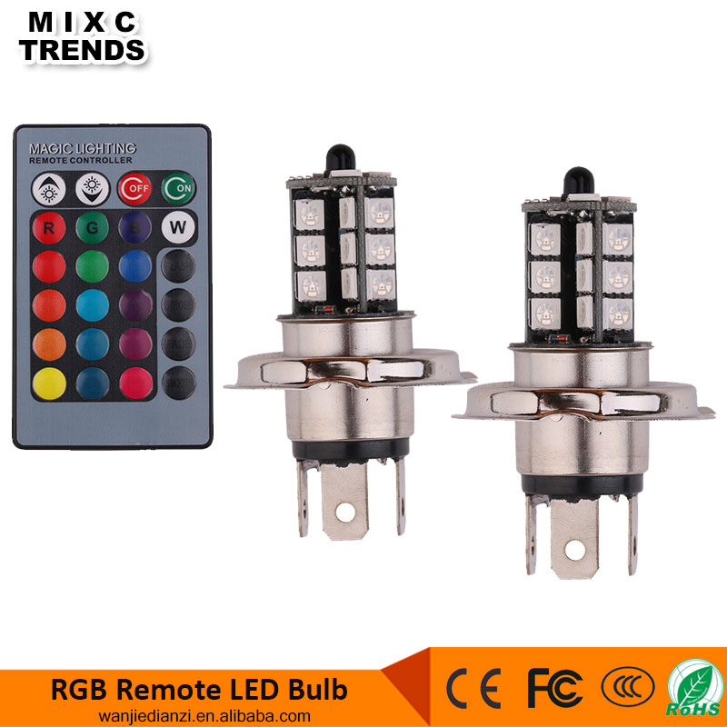 Remote control 16 color rgb H4 led bulb 5050SMD 27LED Auto Fog Headlight for Car trunk motorcycle
