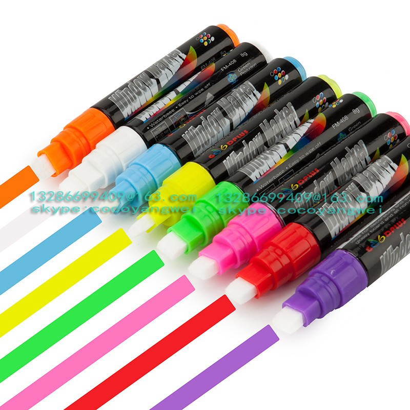 Wholesale China best quality 8mm colorful broad tip Fluorescent marker pen for LED glass board marker